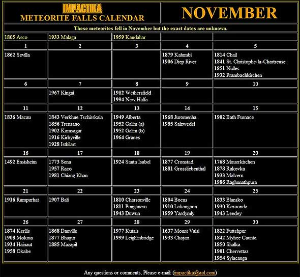 Meteorite Calendar November 2011 Meteorite Times Magazine