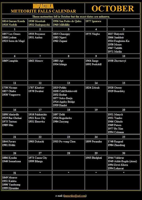 Meteorite Calendar – October 2011