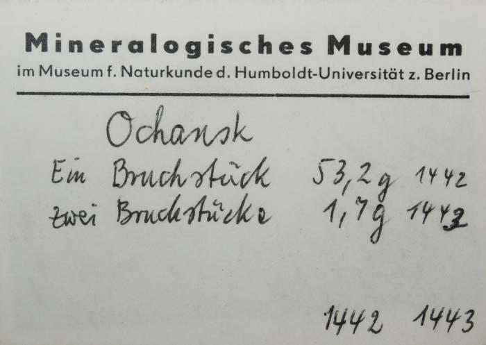 Ochansk Meteorite card