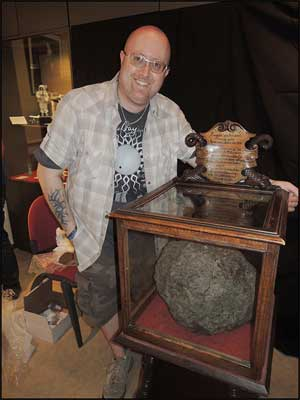 Martin Goff next to the Ensisheim Meteorite main mass.